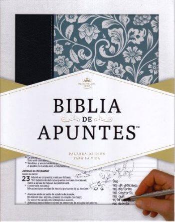 Biblia de Apuntes RVR1960 - Azul  (piel genuina y tela impresa)